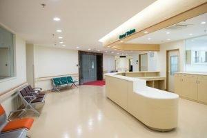 Empty hospital reception area