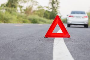 Warning triangle on a road
