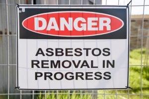 Asbestos removal danger sign