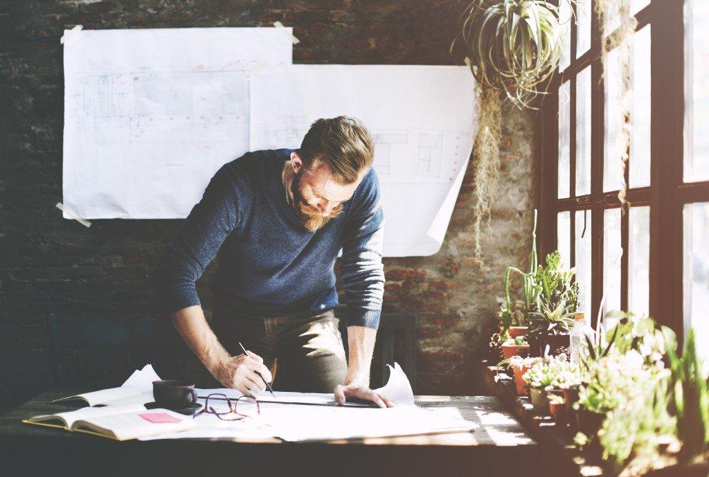 A businessman planning