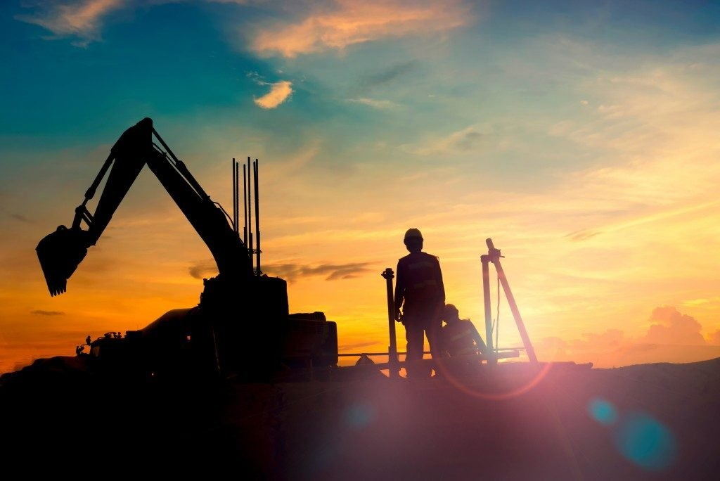 Worker at sunset