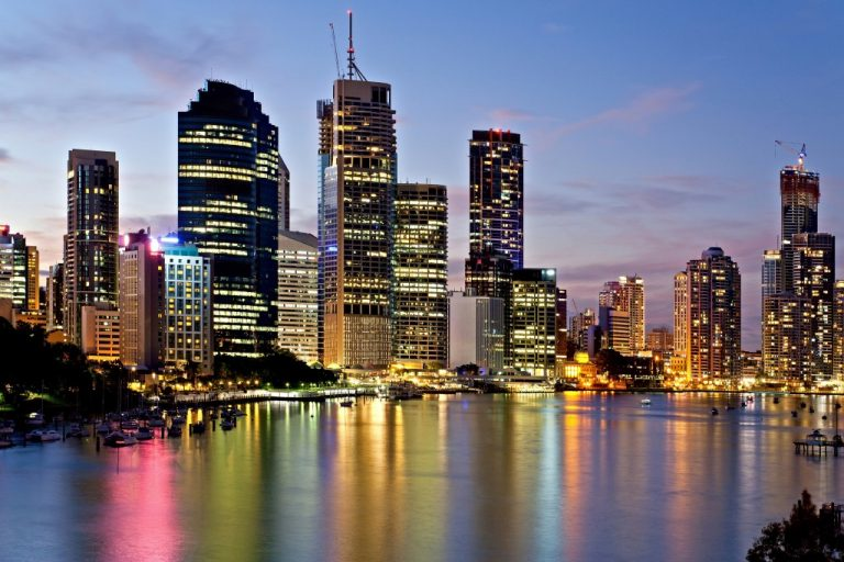 Brisbane skyscrapers at sunset