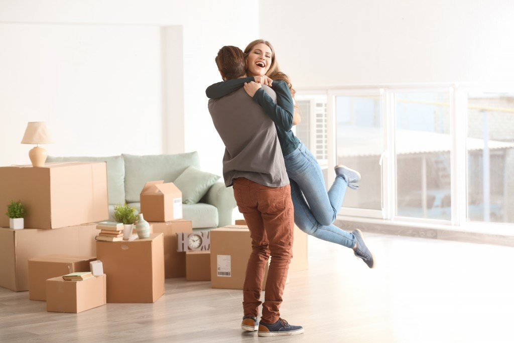couple loving their new home