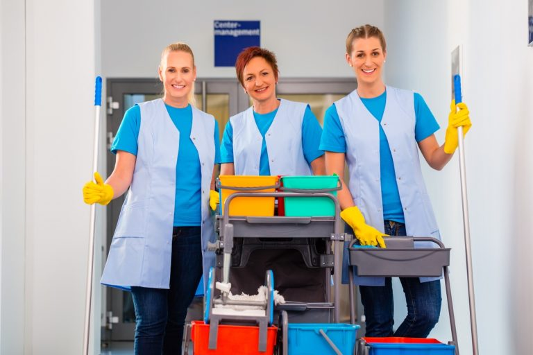 Group of women with cleaning tools