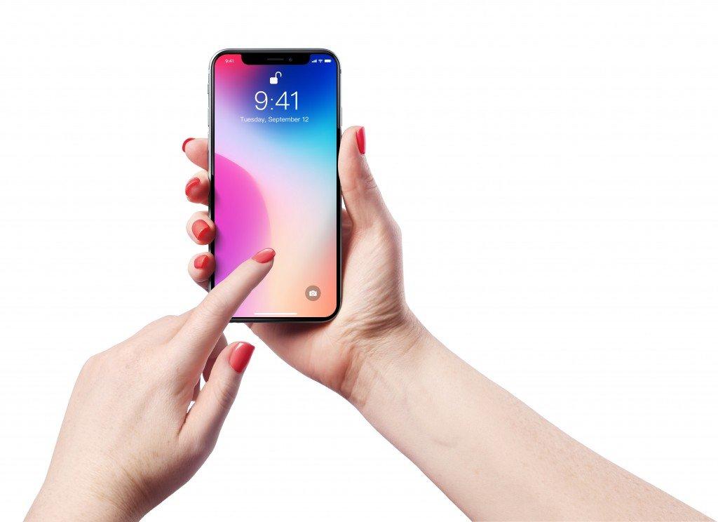 Woman unlocking the iphone