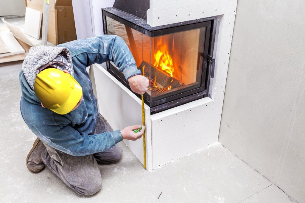 fireplace being remodeled