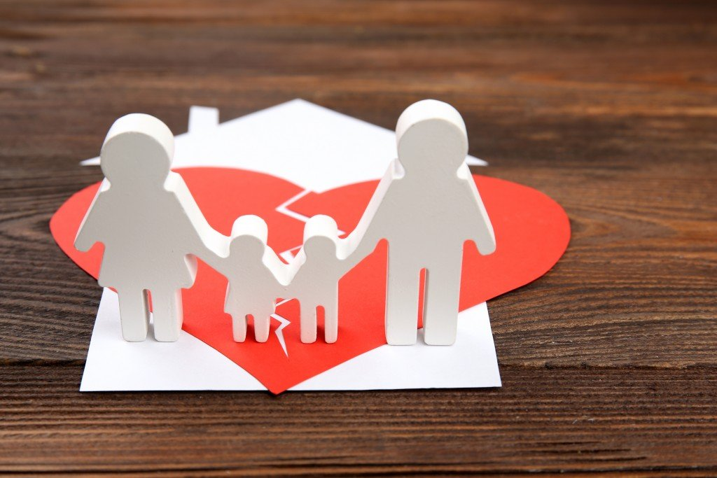 child custody concept, family with a broken home