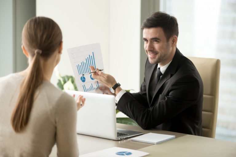 Man presenting to a client