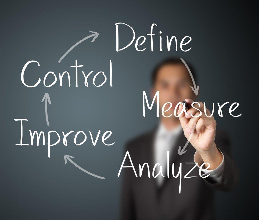 business man writing improvement process concept