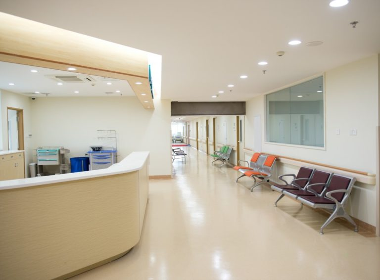 Empty nurses station in a hospital