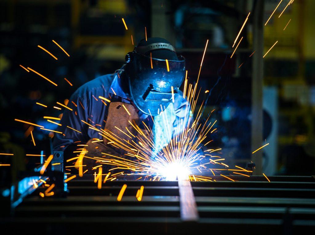 welder wearing safety gear