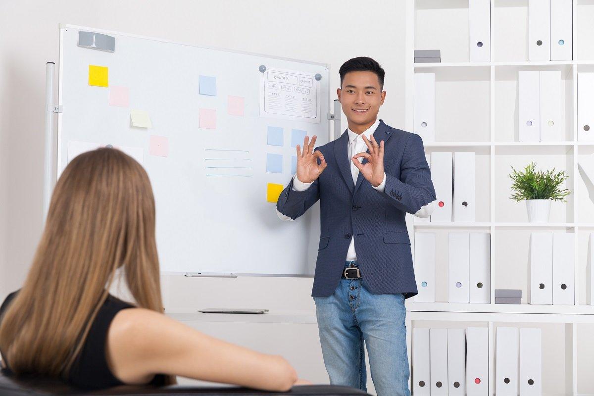 Man presenting a pitch