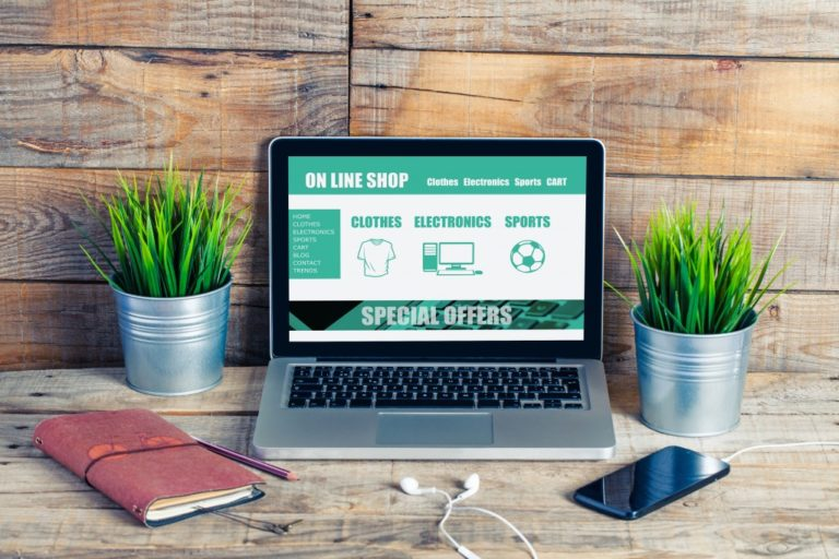 online shop showing on a laptop screen