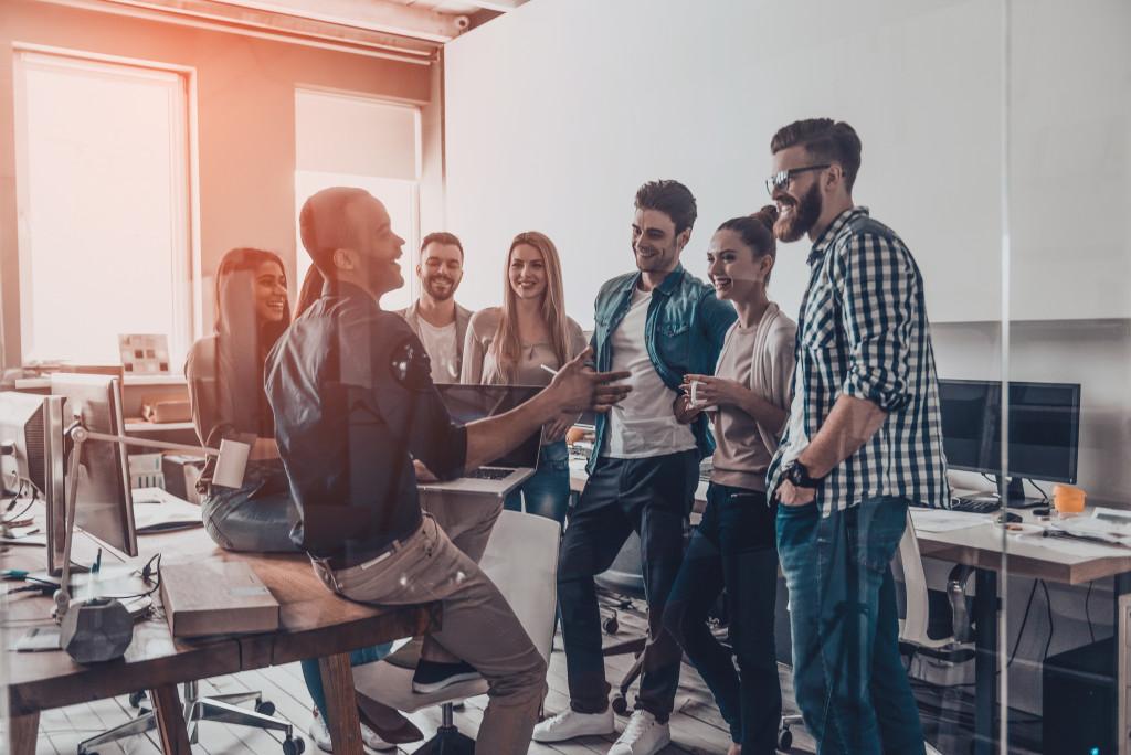 Employees talking