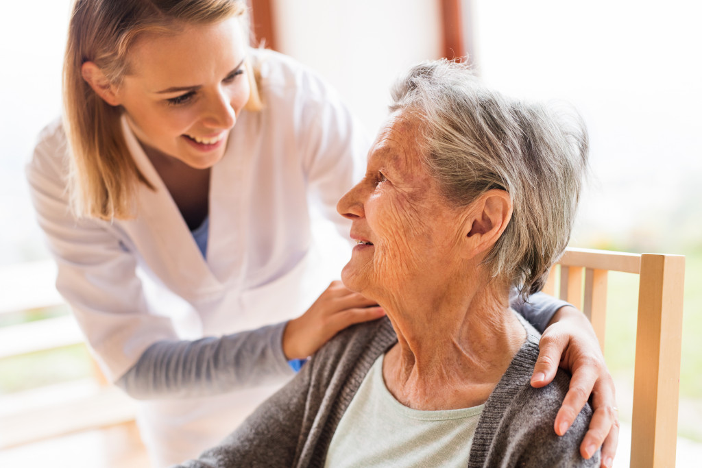 woman caring for a senior woman
